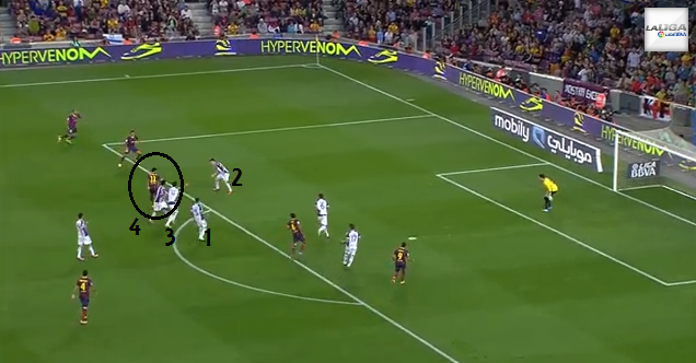 Neymar draws defenders to him like a magnet, which creates space out wide and leaves Xavi unmarked in the middle.